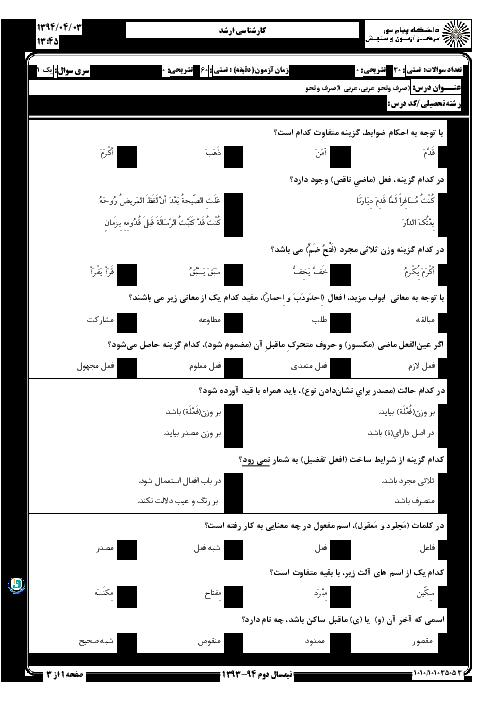 سوالات امتحان درس عربی (1) صرف و نحو کارشناسی ارشد پیام نور + پاسخ کلیدی   نیم سال دوم 94-93